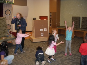 blowing bubbles in storytime